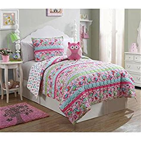 owl twin bed set amazon com girls owl bedding 3pc twin quilt set with pink