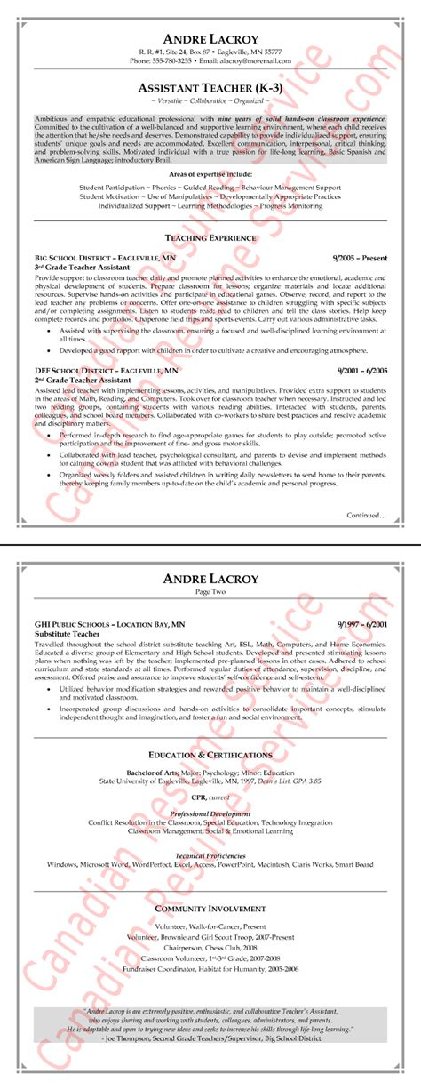 Resume For Teaching Assistant by Teaching Assistant Resume Exle Sle