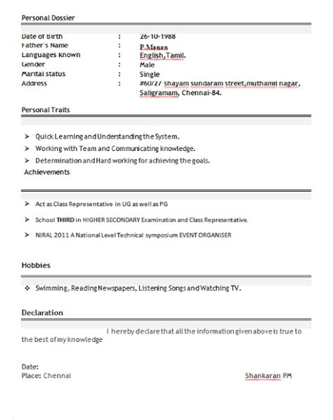 Sle Resume Format For Freshers Pdf Free Resume Format For Freshers Student 28 Images 10000 Cv