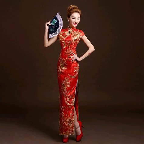 Traditional Chinese Cheongsam Dresses | 4 color fashion red lace bride wedding qipao long