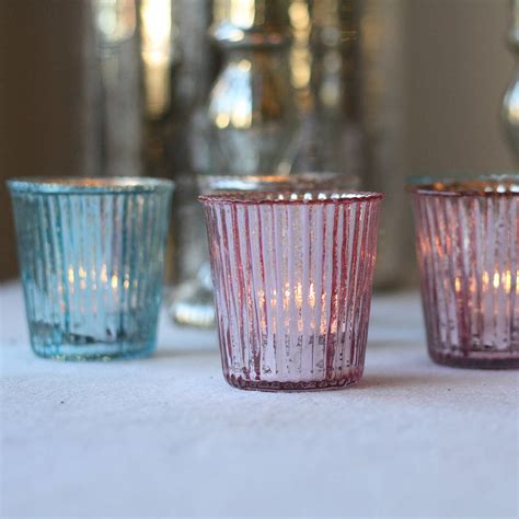 pink glass tea light holders ribbed mercury glass tea light holder by the wedding of my