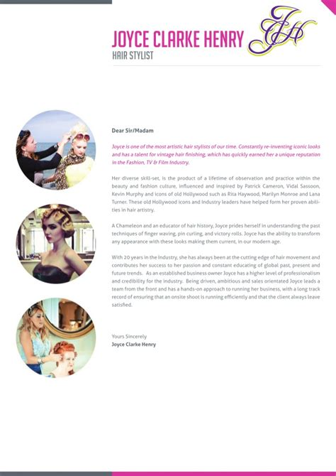 hairdressing cover letter joyce clarke henry hairdresser cover letter