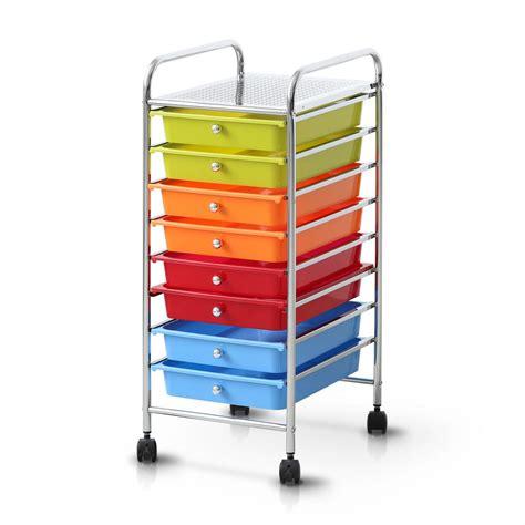 8 drawer rainbow cart furinno wayar 8 shelf chrome 4 wheeled 8 drawer trolley in