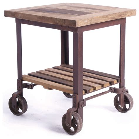 kitchen cart table sudbury reclaimed wood industrial cart end side table traditional kitchen islands and