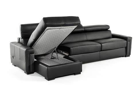 Modern Fold Out by Estro Salotti Sacha Modern Black Leather Reversible Sofa