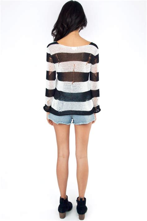 White Black Stripe Sweater 19944 big stripe sweater tobi
