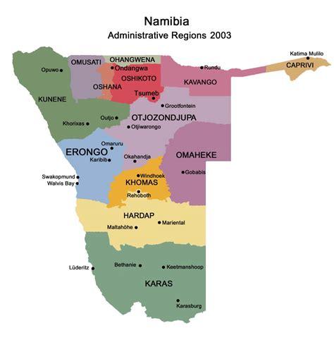 namibia regions map