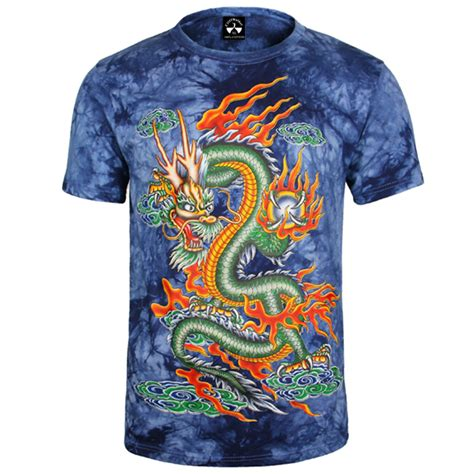 guitar blue pattern style men s clothing t shirts s m l xl full cotton chinese style dragon 3d fashion t shirt for