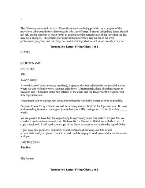 termination letter format in ms word sle client termination letter to lawyer docoments