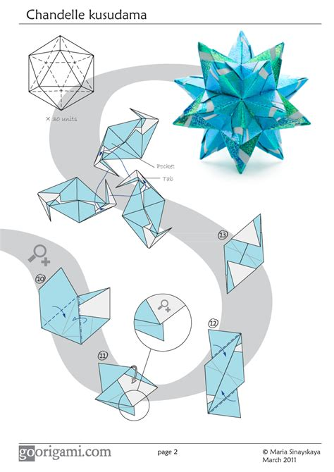 Origami Tutorial - chandelle kusudama by sinayskaya diagram go origami