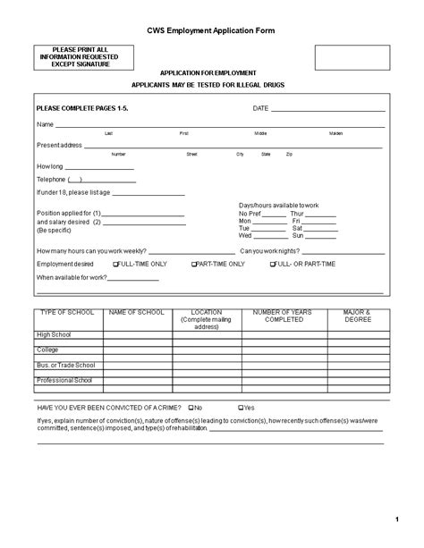 Company Employee Application Form | Templates at