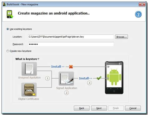 tutorial android magazine app maker existed certificate