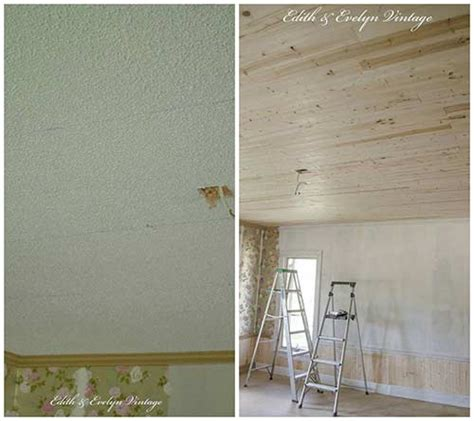 how to make a popcorn ceiling how to plank a popcorn ceiling iseeidoimake