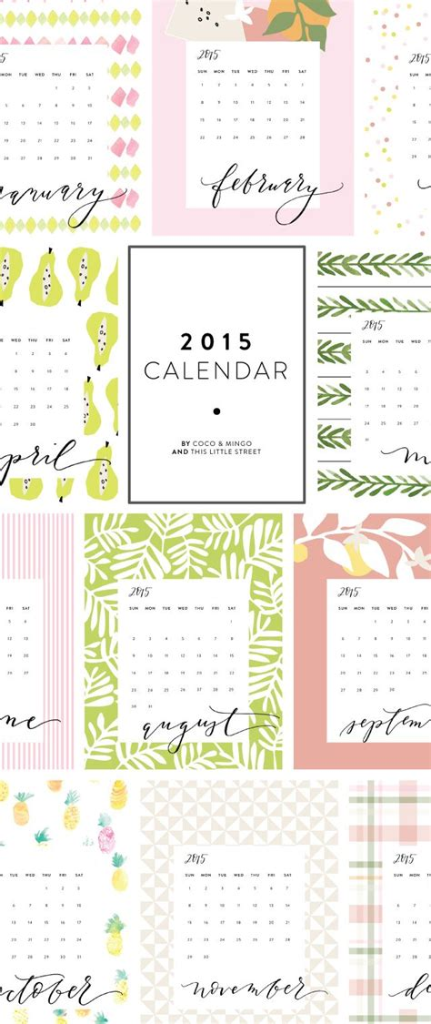 pretty calendar template free printable calendars for 2015 paper crush