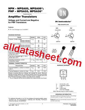 transistor mpsa06 datasheet mpsa06 datasheet pdf on semiconductor
