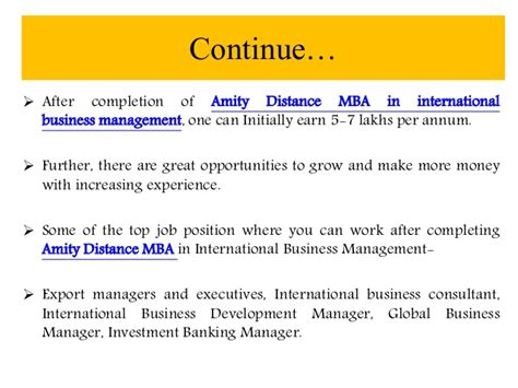 Mba Management Consulting Distance Learning by Amity Distance Learning Mba In International Business
