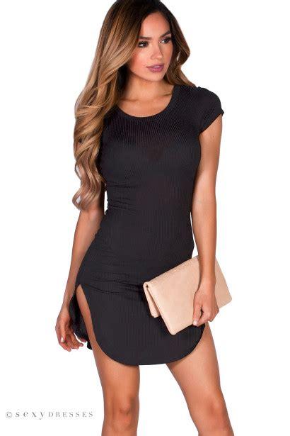 Ciara Tunic ciara black ribbed jersey sleeve bodycon casual tunic dress