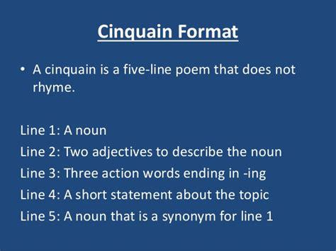 cinquain template poem exles