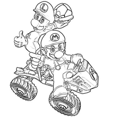 mario kart coloring pages luigi mario luigi kart coloring pages boys coloring pages