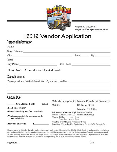 vendor application template free vendor forms mountain high bbq and festival in