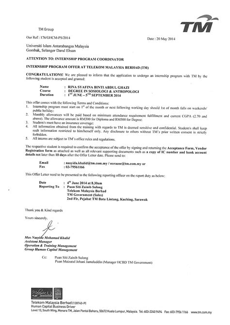 appointment letter format malaysia offer letter for internship malaysia docoments ojazlink