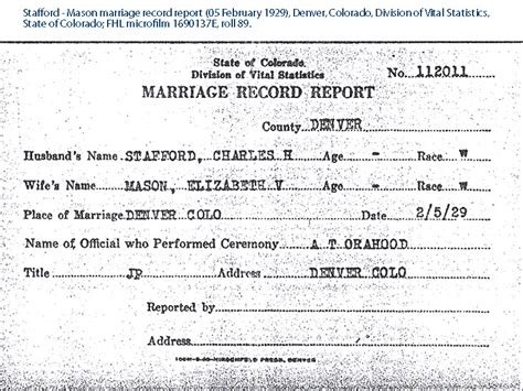 Denver County Marriage Records Clayton Alonzo Stafford