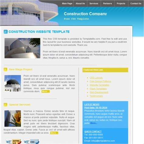 construction company template free website templates in
