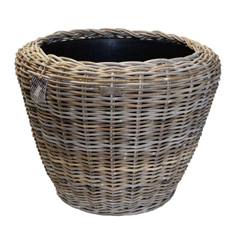 Jumbo Round Grey Rattan Planter With Plastic Liner Plastic Liners For Planters