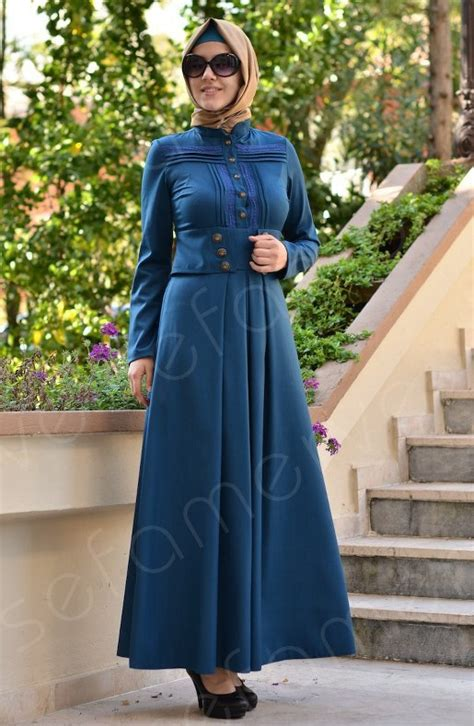 libas moda 2015 hijab dark color hijab styles blue jacket skirt hijab combine