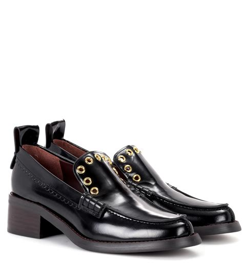 see by loafers lyst see by chlo 233 leather loafers in black