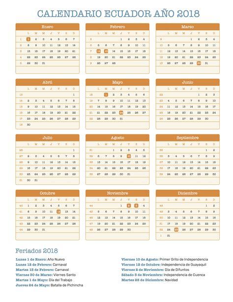 Calendario 2018 Carnaval Calendario Ecuador A 241 O 2018 Feriados 2018