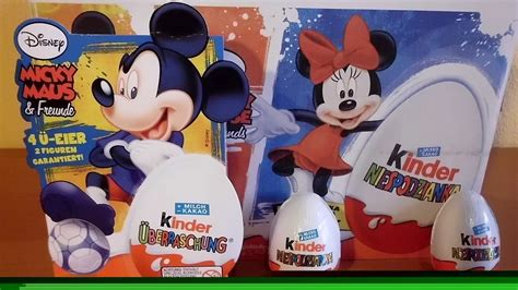 mickey mouse surprise eggs play toys kinder chocolate 10 kinder choco surprise eggs mickey mouse friends