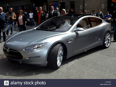 tesla outside tesla model s electric motor car outside the ed sullivan