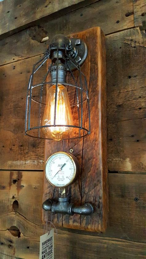 Wooden Wall Sconce Steampunk Industrial Barn Wood Wall Sconce Light Lamp