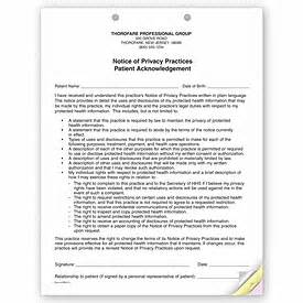 medical forms 3 part notice of privacy practices hipaa