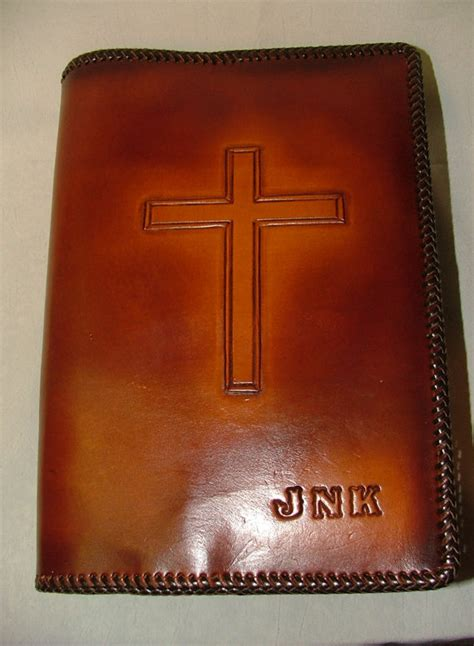 Handmade Bibles - handmade tooled leather bible cover with cross custom