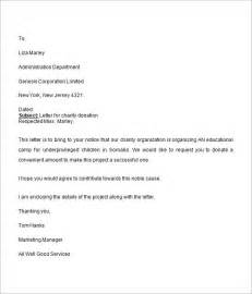 Sample Letter For Charity donation request letter 8 free download for word