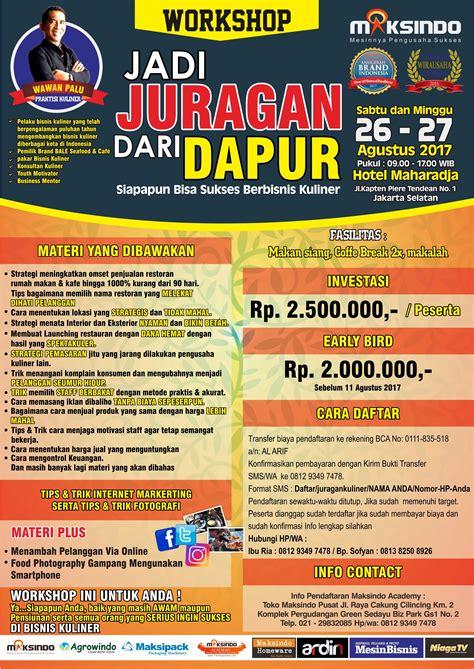 Workshop Jadi Juragan Dapur, 26 27 Agustus 2017