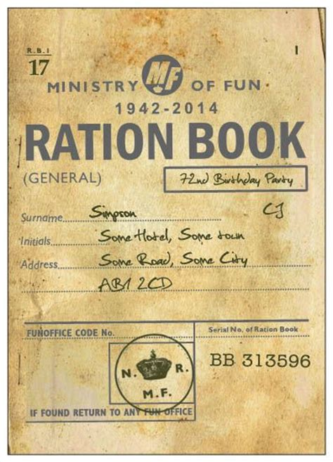 rationing book template ration book printed invitation in the style of a ration
