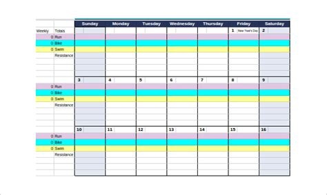 triathlon calendar template workout log template 14 free word excel pdf vector