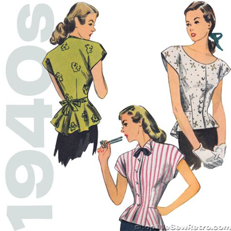 vintage pattern blouse simplicity 1590 1940s vintage blouse sewing pattern
