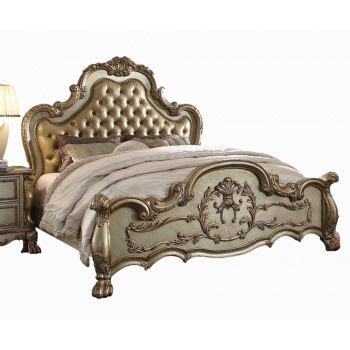 victorian tufted headboard acme 23160 dresden gold patina and bone finish victorian