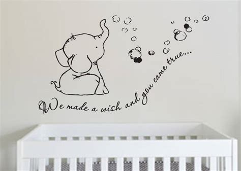 elephant wall decal for nursery adorable we made a wish baby elephant wall decal sticker