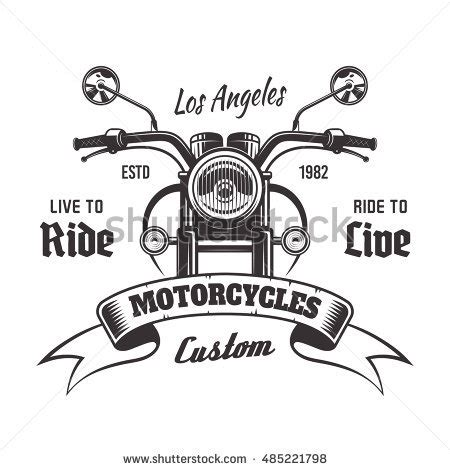 handlebars layout template motorcycle front view vector monochrome vintage stock