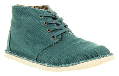 Toms Casual Shoes F5 303 Mens Toms Desert Botas Teal Casual Canvas Lace Up Shoes Ebay