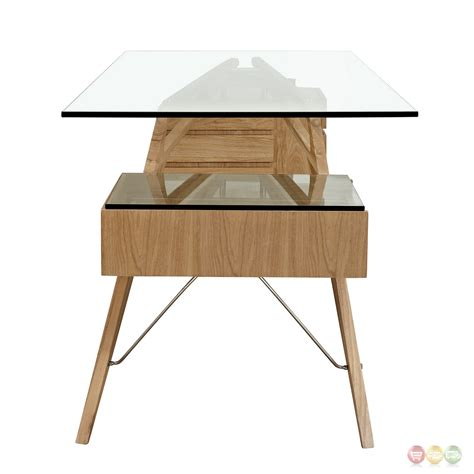 modern glass top desk koen mid century modern ash wood writing desk with glass top