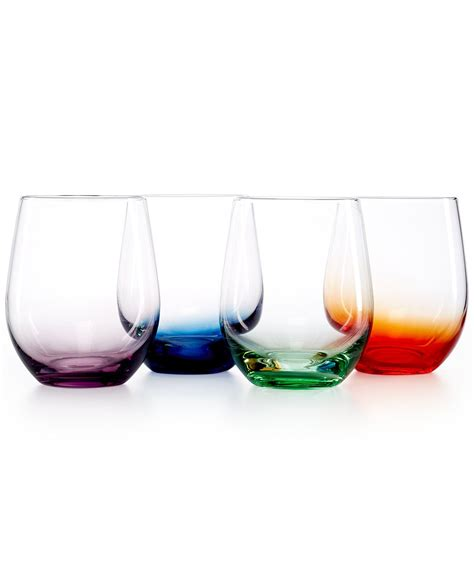colored stemless wine glasses the cellar set of 4 colored stemless wine glasses macy