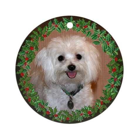 maltese holiday ornament round by twinschoice2006