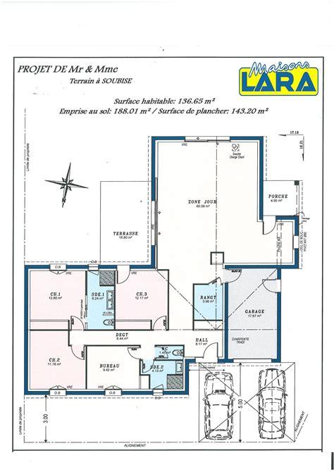 Plain Pied 4 Chambres by Plan De Maison Moderne 5 Chambres