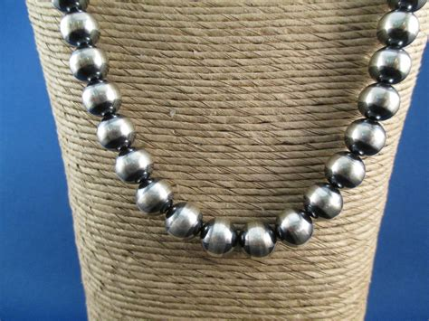 silver bead oxidized sterling silver bead necklace american